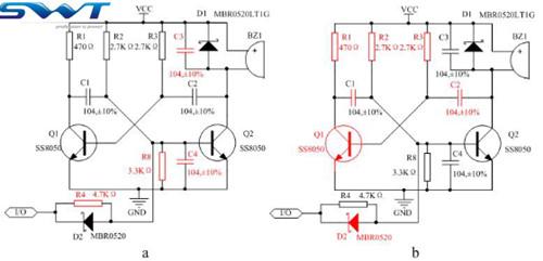 无源蜂鸣器驱动电路兼容设计(图为无源蜂鸣器兼容设计电路)